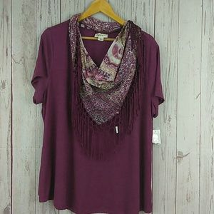 Style & Co scarf and top set sz 2X